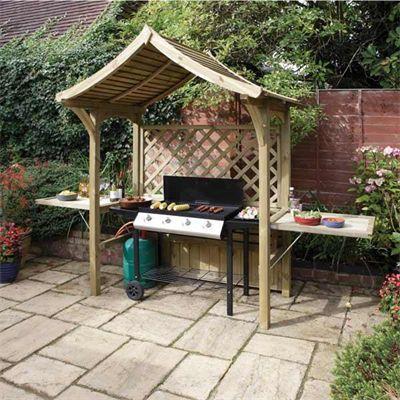 Wooden Garden Arbour Barbecue Station Blamphayne