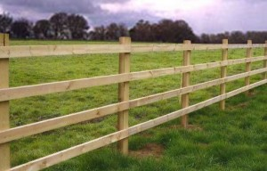 square post and rail fencing