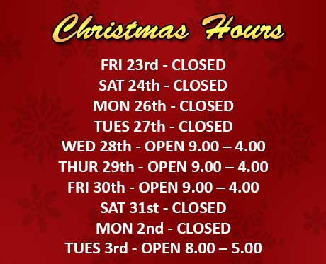Blamphayne Sawmill's Christmas and New Years Hours