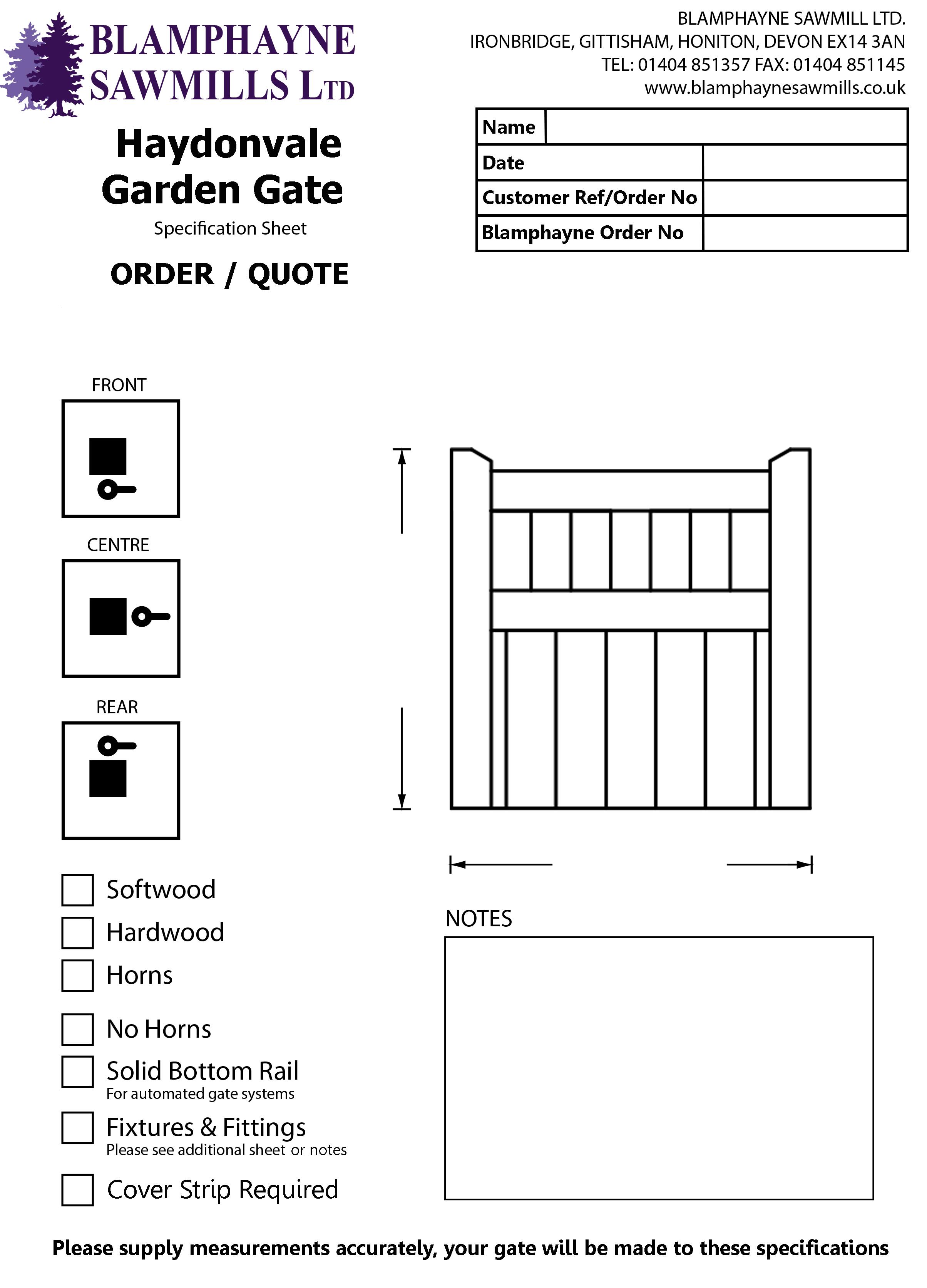 Gate Plans Order Forms Blamphayne Sawmills Ltd